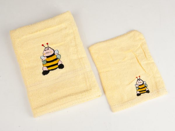 Set handdoek en washandje met Bij