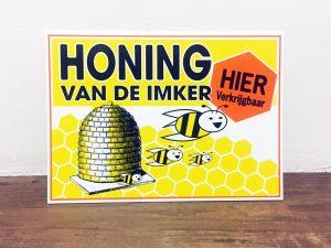 Reclamebord - Honing van de imker met korf