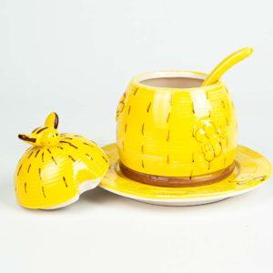 Keramische honingpot met bord en lepel - open