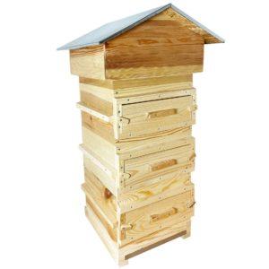 Warré bijenkast met kijkramen en verzinkt chalet dak